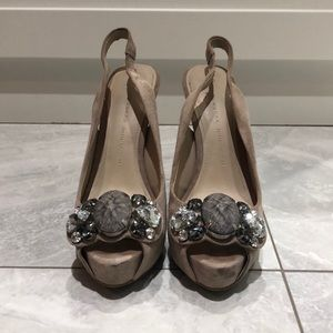 Zara Sling Back Heels with Jewel Embellishments